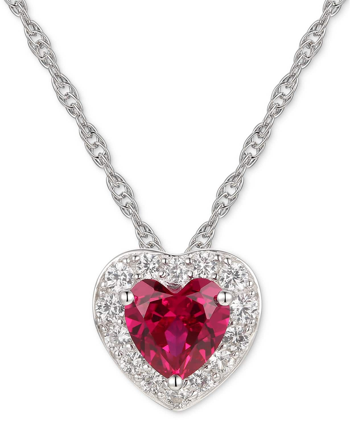 """Macys Jewelry Flash Sale: Macy's Lab-Created Ruby (1-1/3 ct.t.w.) & White Sapphire (1/2 ct. t.w.) 18"""" Pendant Necklace in Sterling Silver $7.50, More + free ship on $25+"""