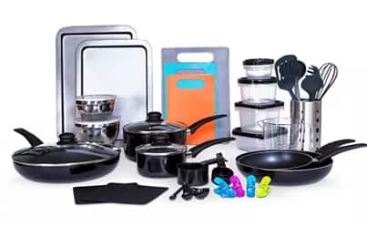 64-Piece Sedona Kitchen-In-A-Box Cookware & Food Storage Set $51.19 + free shipping