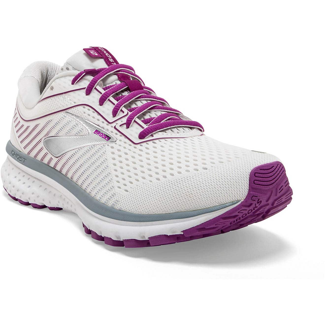 Brooks Women's Ghost 12 Running Shoes (White/Gray/Hollyhock) $45 + free shipping (now limited sizes only)