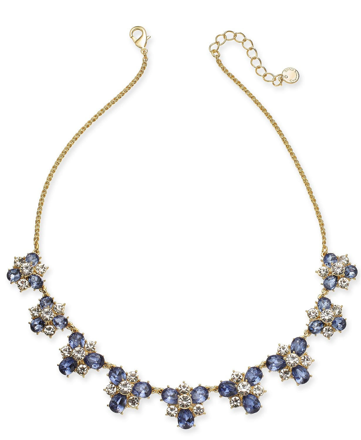 Macys Fashion Jewelry: Charter Club Gold-Tone Crystal & Stone Cluster Necklace $5, Imitation Pearl Three-Row Collar Necklace $5, More + FS on $25