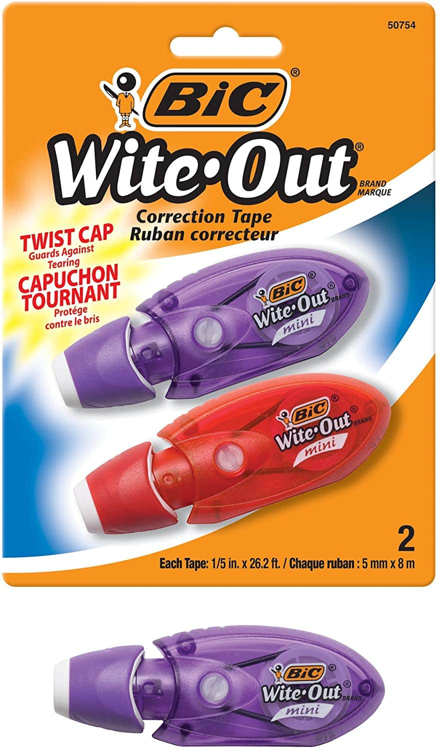 2-Count BIC Wite-Out Brand Mini Twist Correction Tape $2.47 + free shipping with Prime or on orders over $25