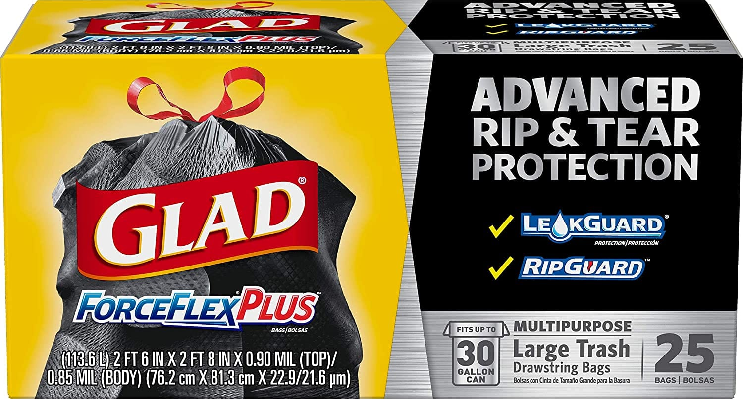25 Count 30 Gallon Glad Forceflexplus Black Large Drawstring Trash Bags