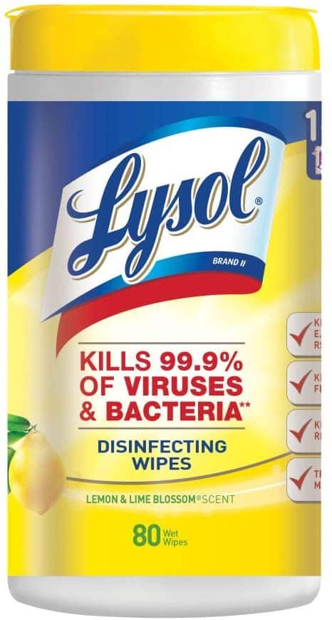 80-Count Lysol Disinfecting Wipes (Lemon & Lime Blossom) $3.70