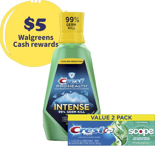 33.8-Oz Crest Mouthwash + 2-Ct 5.4-Oz Crest Plus Scope Toothpaste + $5 in Walgreens Rewards $7 + free pickup
