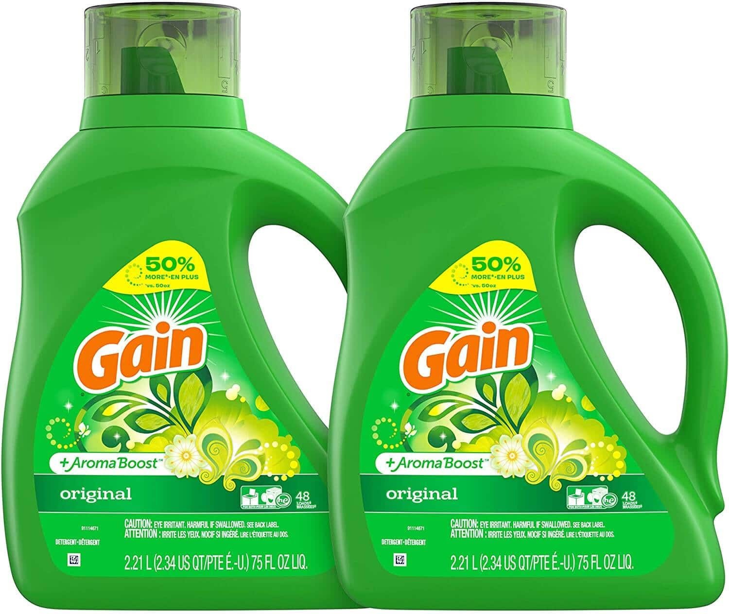 2-Ct 75-Oz Gain Liquid Laundry Detergent Plus Aroma Boost (Original Scent) $11.12 ($5.56 each) w/ S&S + Free Shipping w/ Prime or on $25+