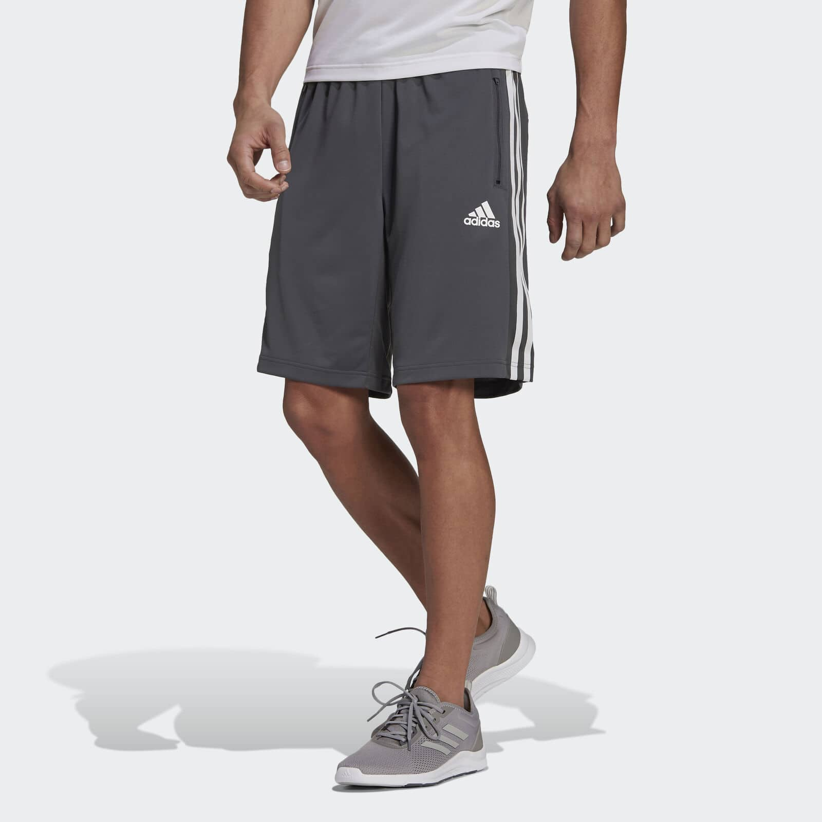 adidas Men's Designed 2 Move 3-Stripes Primeblue Shorts (grey six color, S-2XL) 2 for $22.50 & More + Free S/H