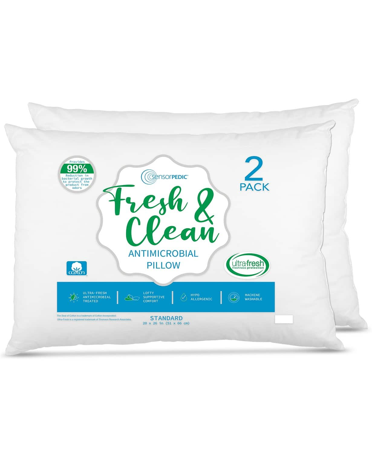 2-Pack SensorPEDIC Fresh & Clean Ultra-Fresh Antimicrobial Pillows $10 + 6% in Slickdeals Cashback (PC Req'd) + Free ship on $25+