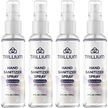4-Count 4-Oz Trillium USA made Liquid Hand Sanitizer Spray with 80% Alcohol $1.90 + free shipping w/ Prime or on orders over $25