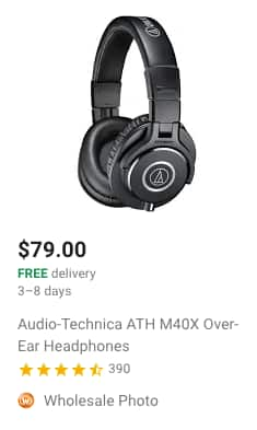ATH-M40x with 20% for first time order on Google Express $63.2