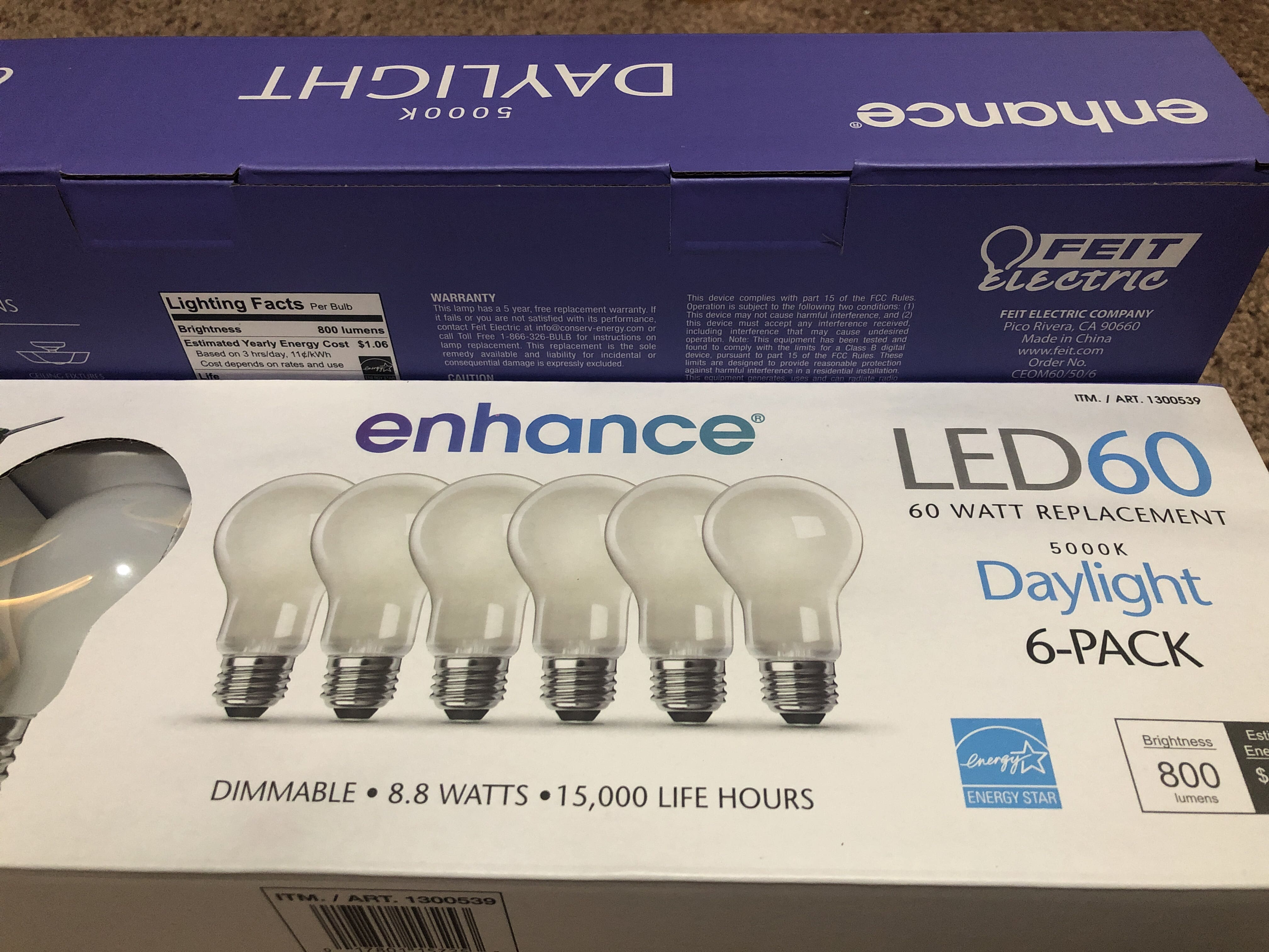 Costco Feit Electrical LED Daylight or Softwhite bulbs 6pk