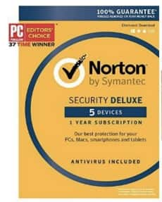 Norton Security Deluxe - 5 Devices [Key Card] with Amazon.com $10 Gift Card --$37.99