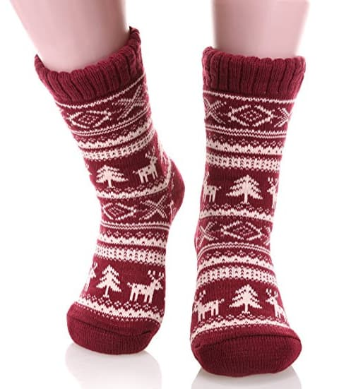 Women's Super Warm Deer Fleece Lining Knit Christmas Knee Highs Stockings Slipper Socks  (Various Colors) $4.99