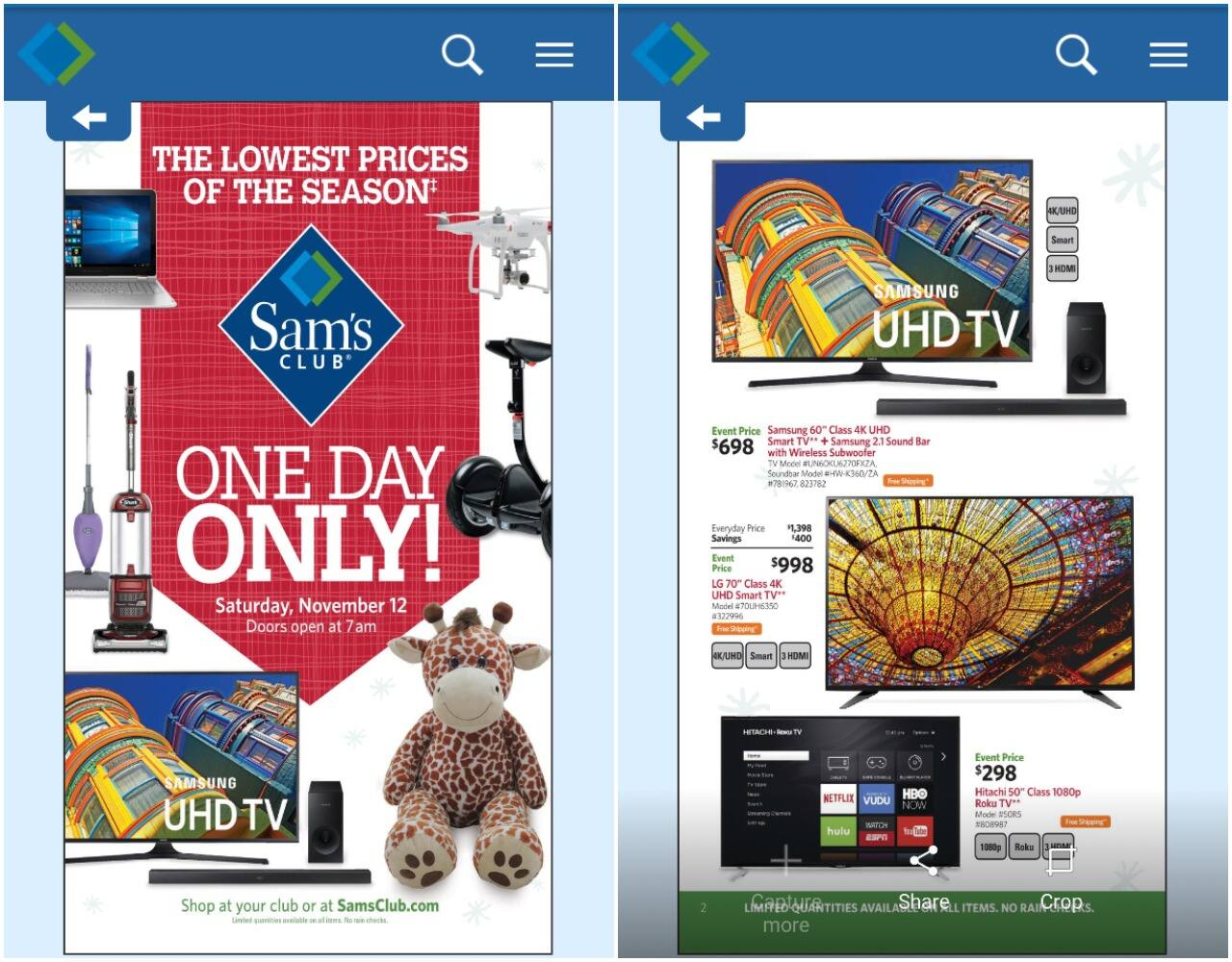 Sam's Club One Day event Ad published