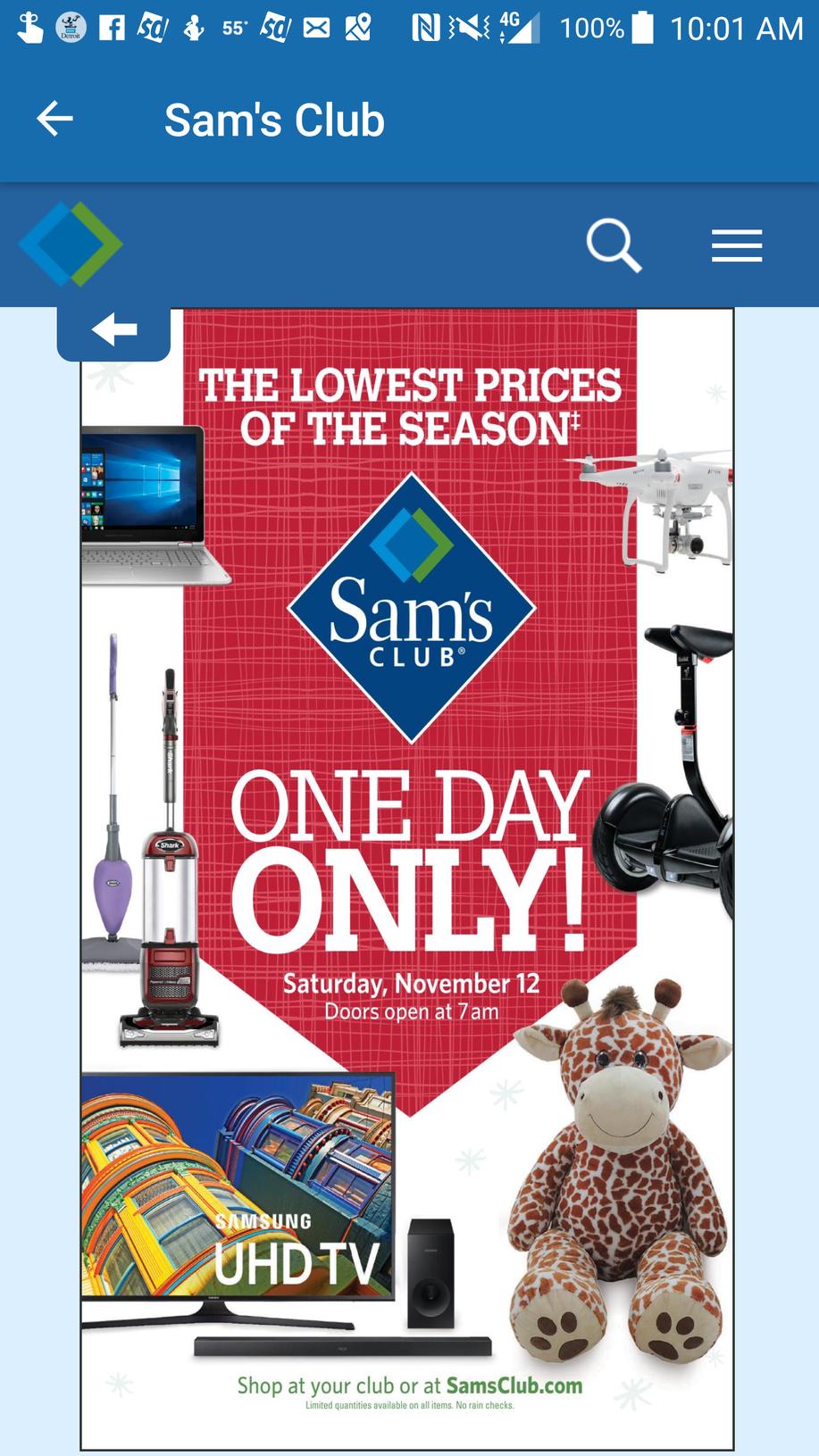 iPhone / Samsung $250 Sam's club gift card - Nov 12th B&M