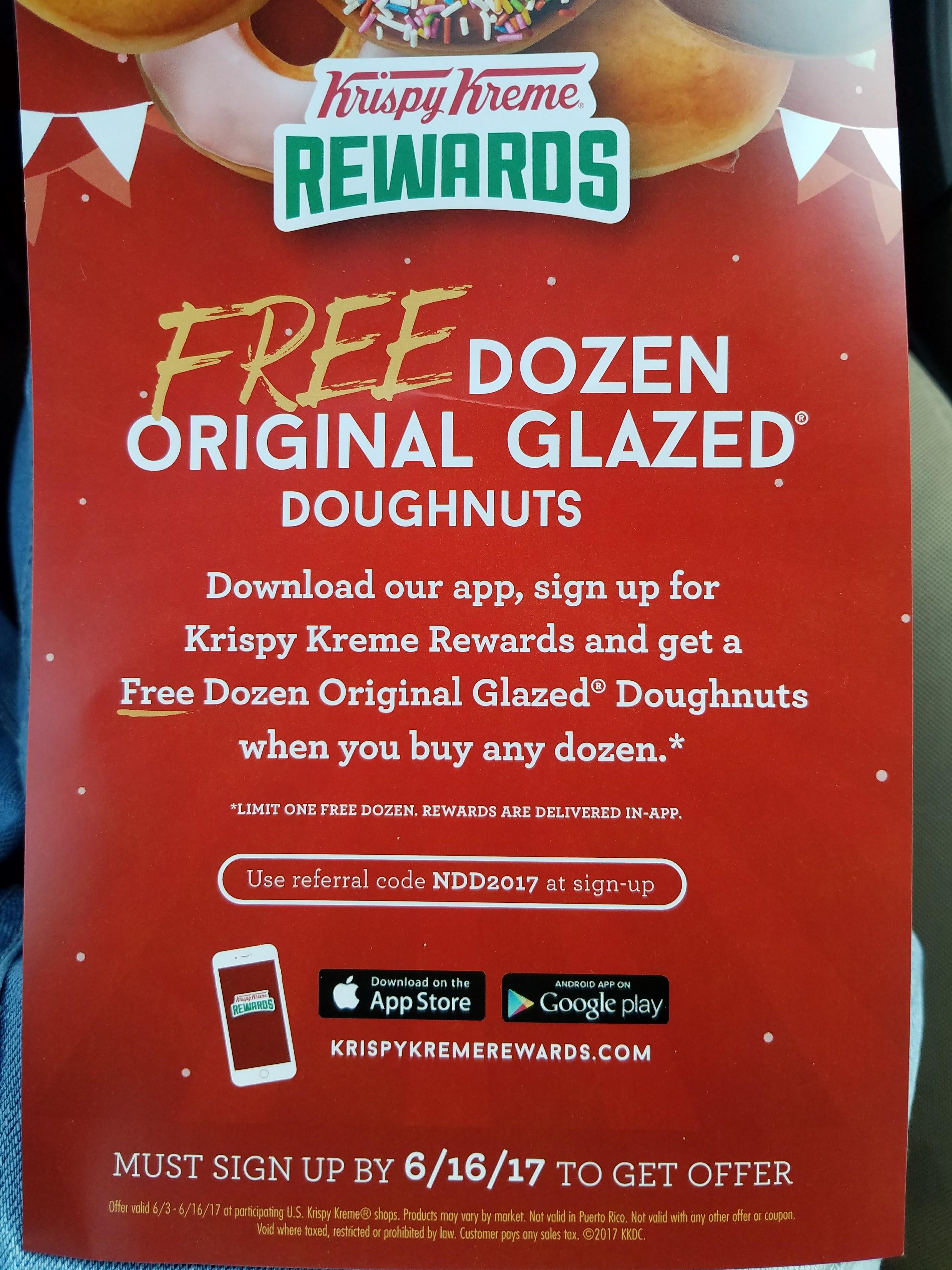 Free Dozen Original Glazed Doughnuts when you sign up for Krispy Kreme Rewards and buy any dozen