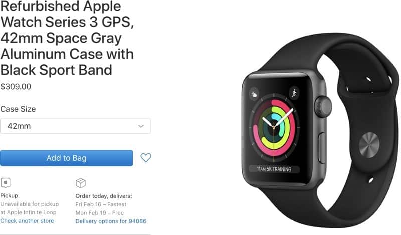 Refurbished Apple Watch Series 3 - With warranty $279
