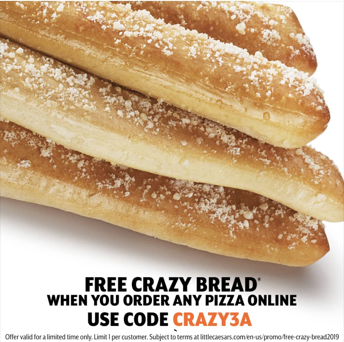 Little Caesars: Free Crazy Bread with Online Order