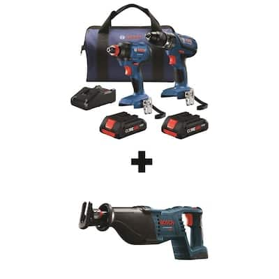 Bosch Core18v 3 Tool Combo Plus Free 4.0ah Battery $229
