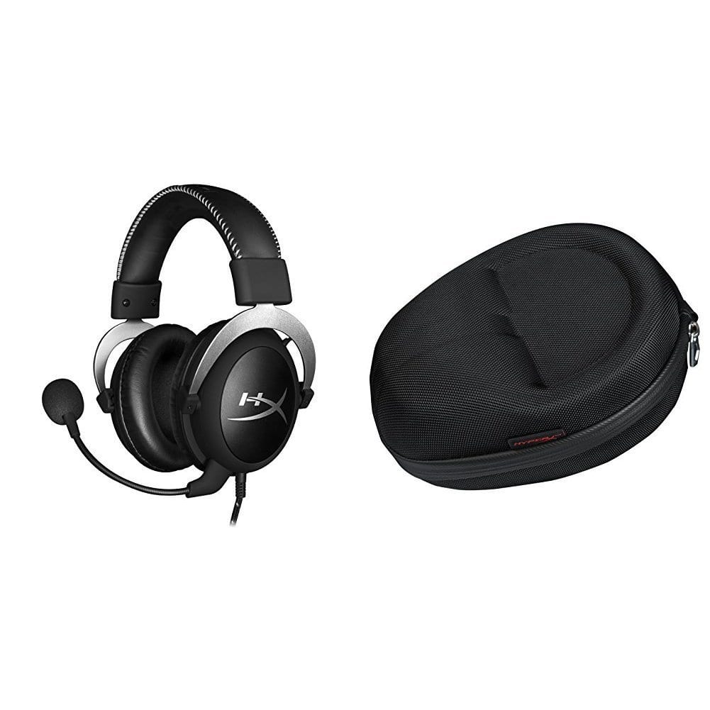 54% Off of HyperX Cloud Pro Gaming Headset - Silver and Official Cloud Carrying Case [Silver - with In-Line Audio Control, Headset + Carrying Case Bundle] $49.99