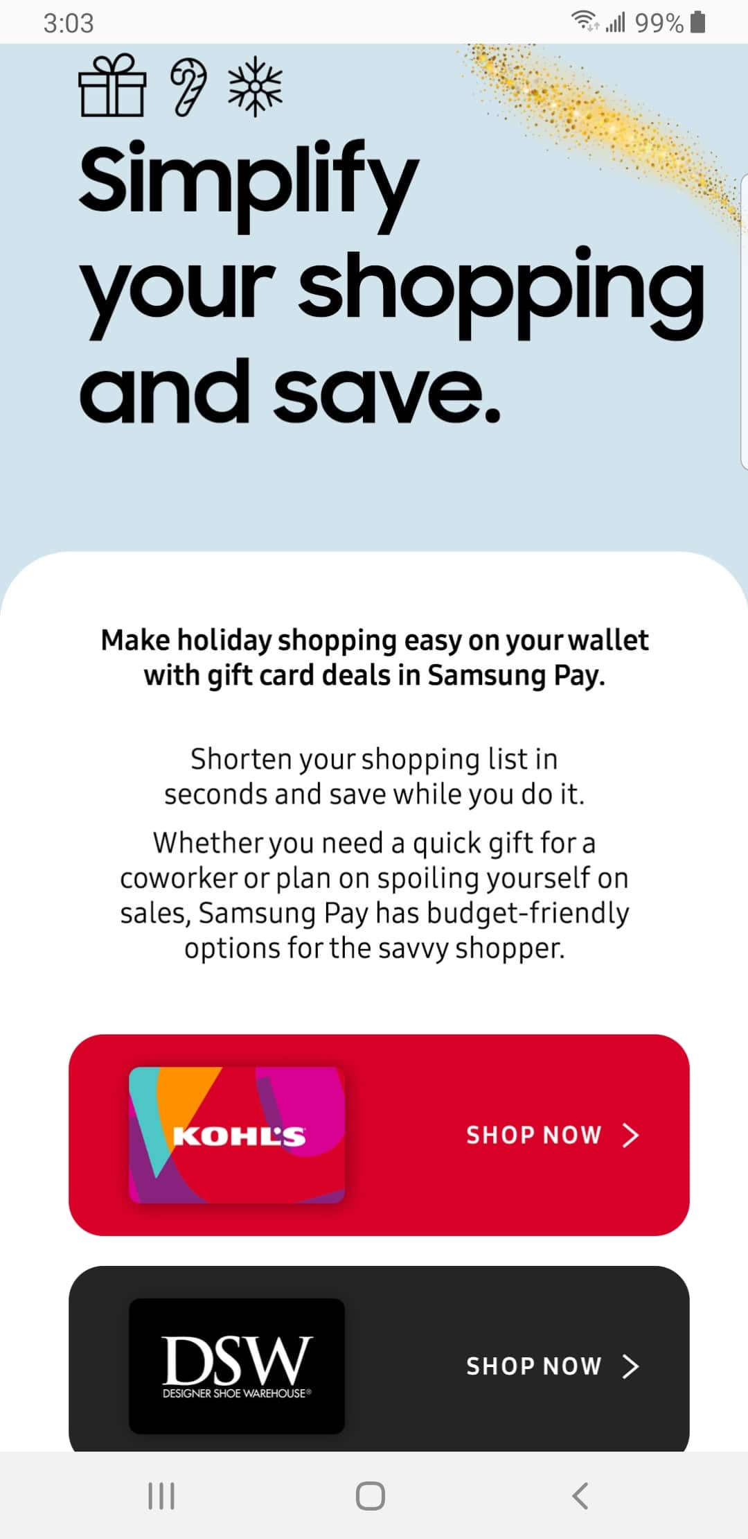 Samsung Pay : Up to 20% off gift cards