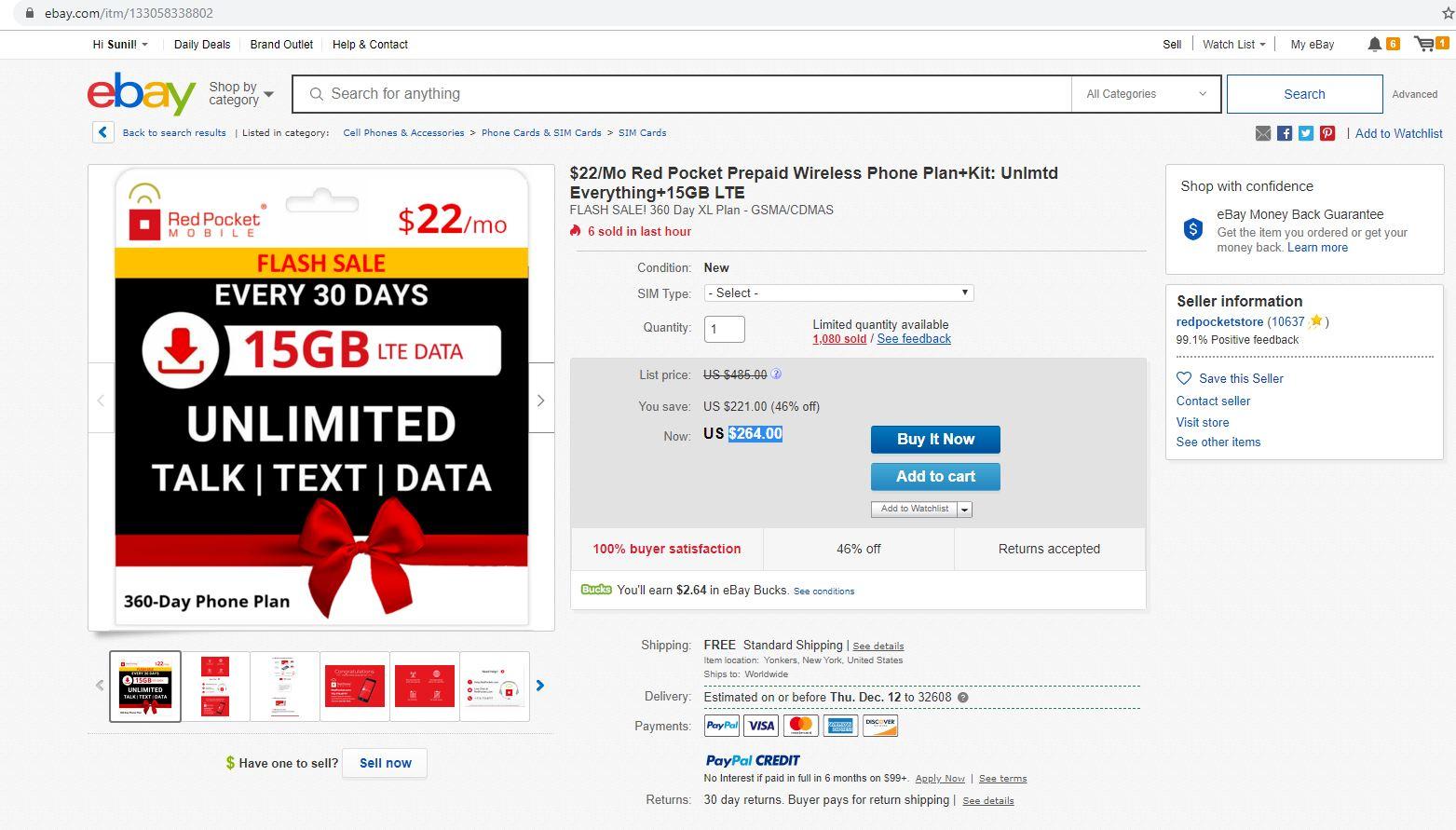 $22/Mo Red Pocket Prepaid Wireless Phone Plan+Kit: Unlmtd Everything+15GB LTE $264