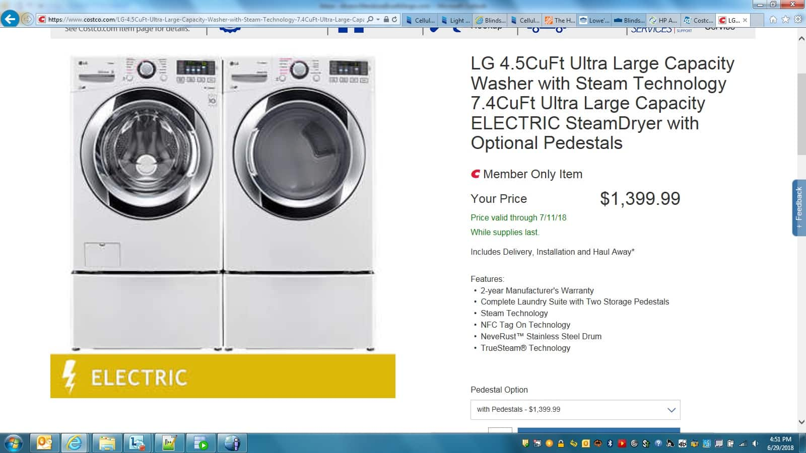 Costco Lg Washer Amp Dryer With Pedestals 1300