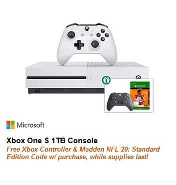 Xbox One S 1TB Console + Extra Controller + Madden NFL 20 $250 via Newegg