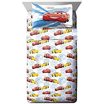 Amazon.com: Disney/Pixar Cars 3 Movie High Tech White/Yellow/Red 3 Piece Twin Sheet Set with Lightning McQueen and Cruz Ramirez (Official Disney/Pixar Product) $17.11