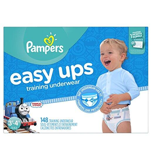 Pampers Easy Ups Training Pants Pull On Disposable Diapers for Boys Size 5 (3T-4T), 148 Count, ONE MONTH SUPPLY $27.06