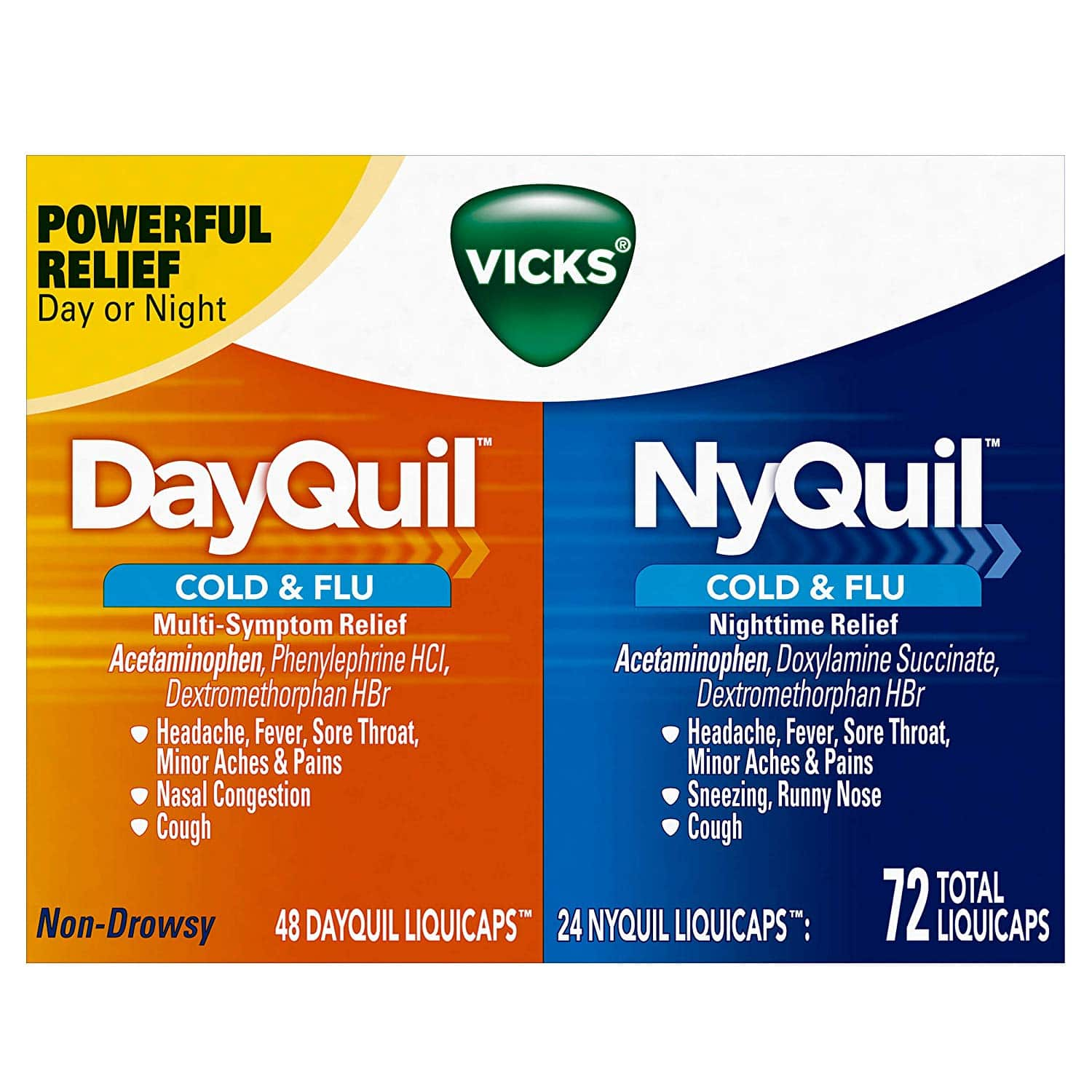 Vicks DayQuil & NyQuil Cough, Cold & Flu Relief Combo, 72 LiquiCaps (48 DayQuil, 24 NyQuil) - $18.85 free shipping with Prime