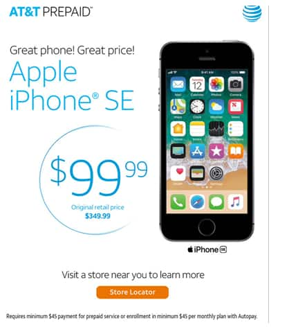 iPhone SE - AT&T PREPAID In-Store $70 YMMV