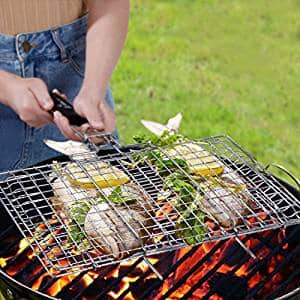 Portable BBQ Grilling Basket 430 Stainless Steel Removable Wooden.  Handle $9.62
