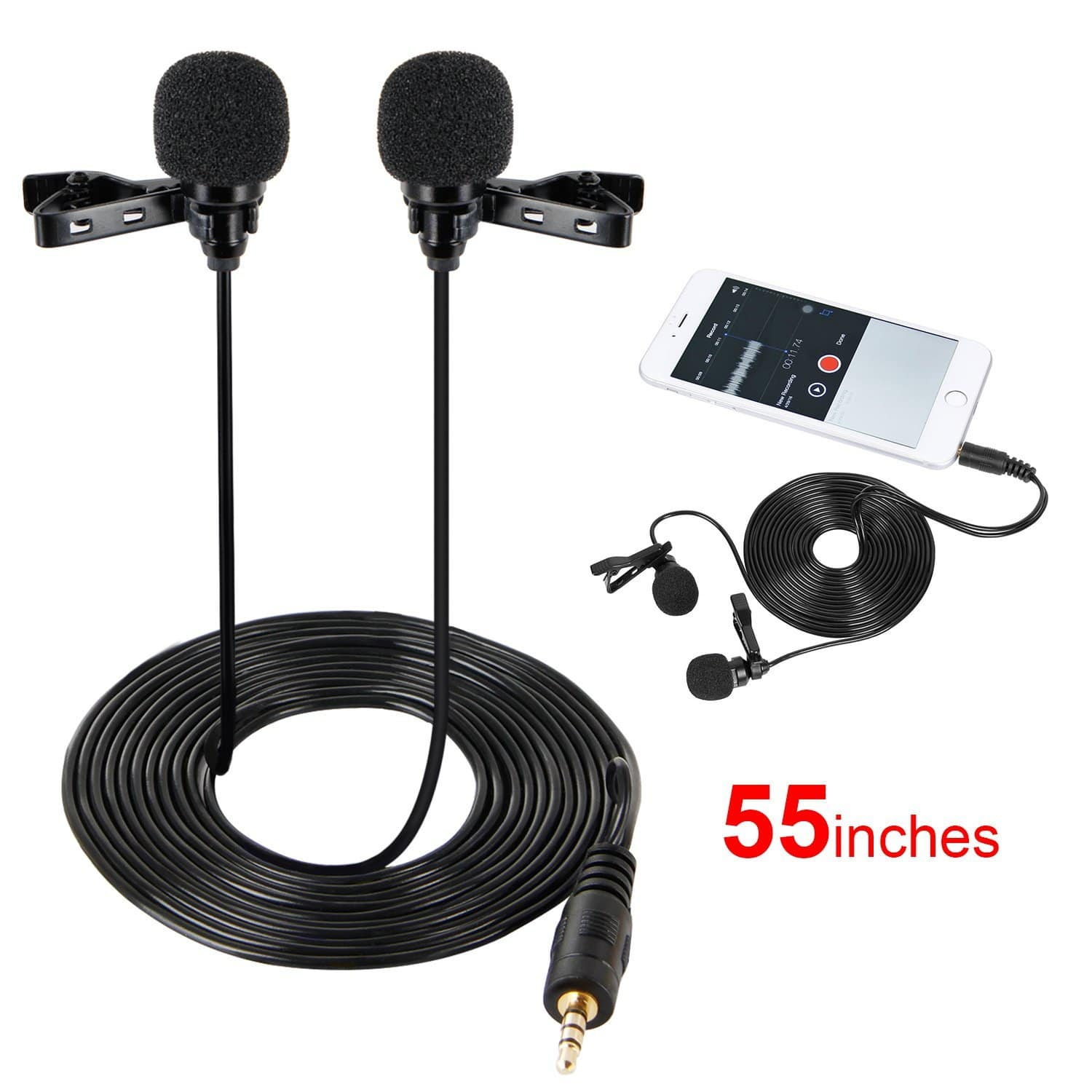 55 inch Lavalier Mic Lapel Microphone Double Headed Recording Clip On Mic Mini Microphone For Iphone Ipad Ipod Samsung Android and Windows Smartphones $8.5