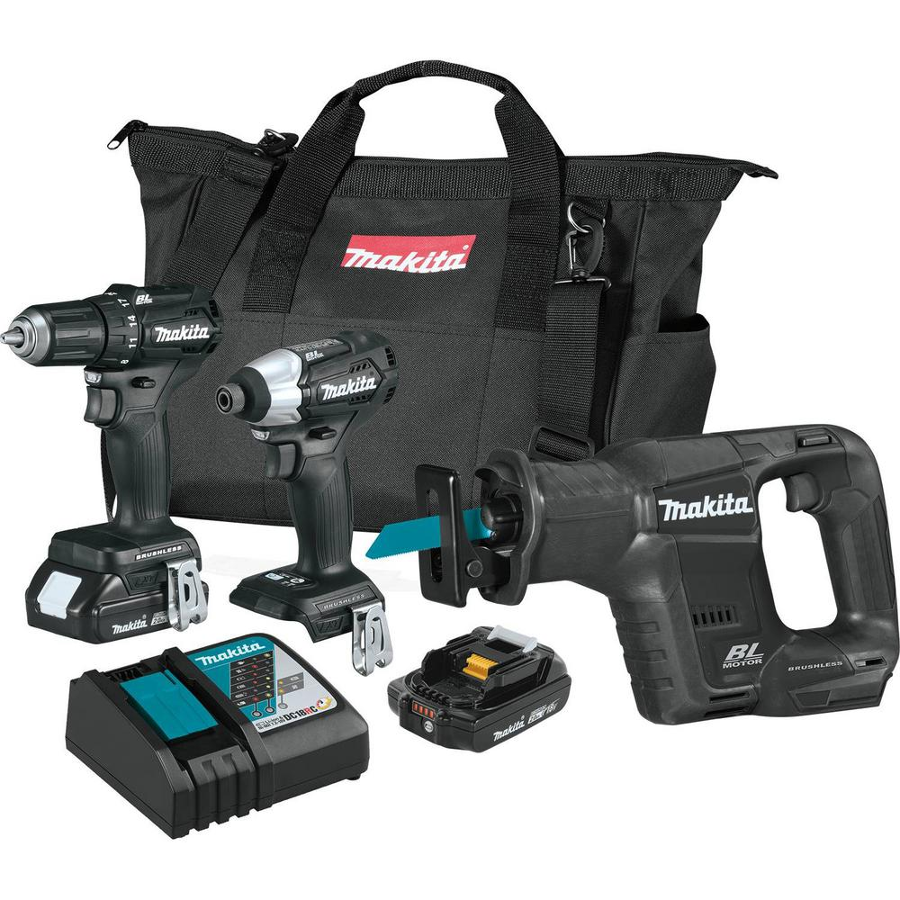 Makita 18-Volt LXT Sub-Compact Cordless 3-Piece Combo Kit Driver-Drill/Impact Driver/Recipro Saw 18-Volt LXT 2.0Ah Battery with Bonus Battery $299
