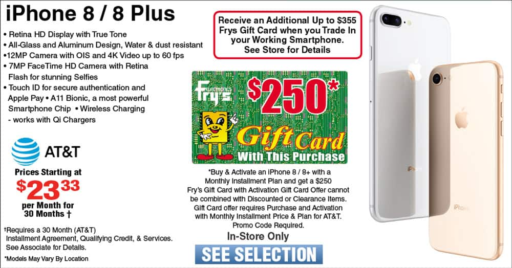 iPhone 8/8+ with $250 Gift Card on ATT. Good through April 28 2019