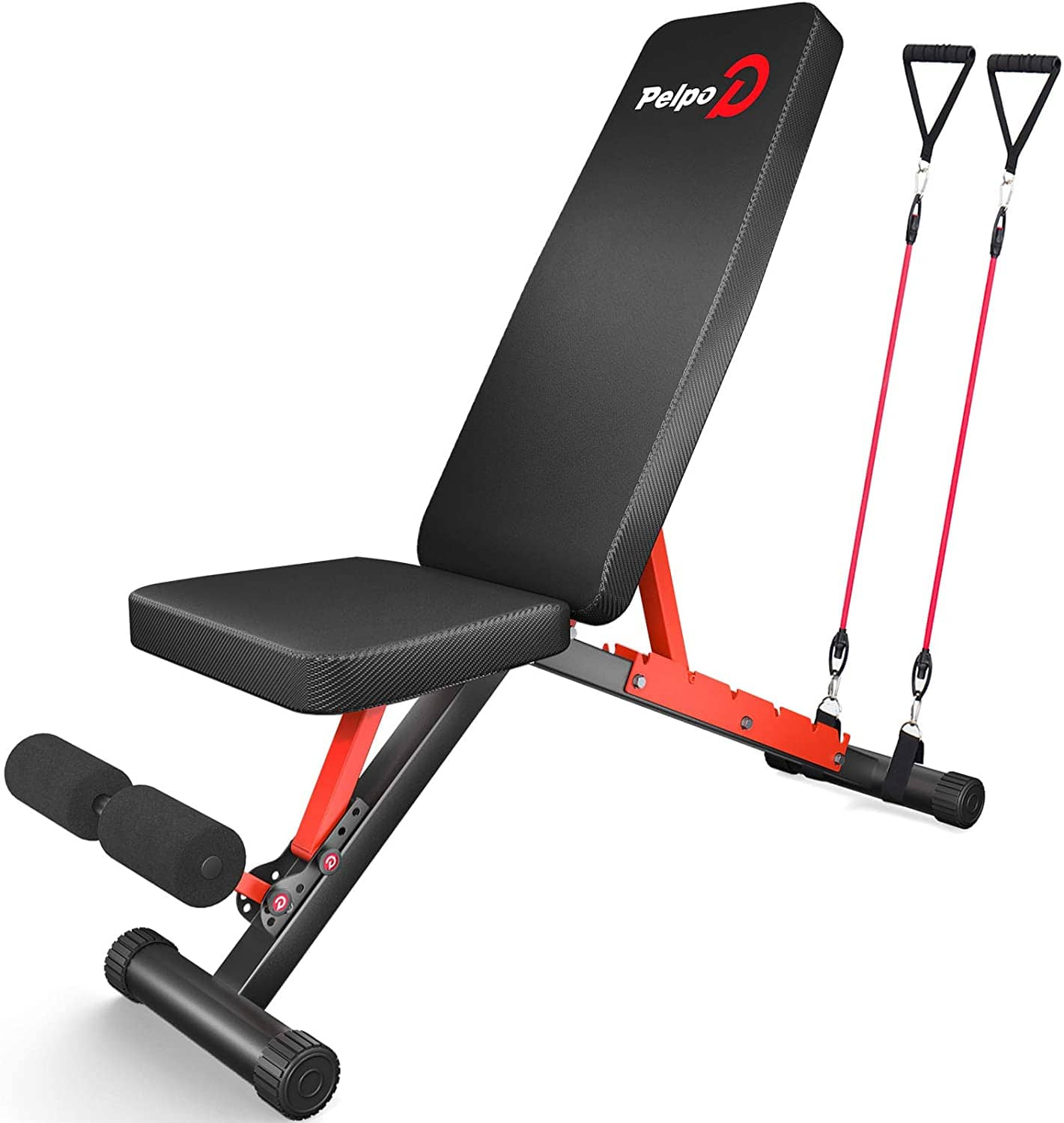 Foldable workout bench 660lbs capacity w/resistance bands $93.49
