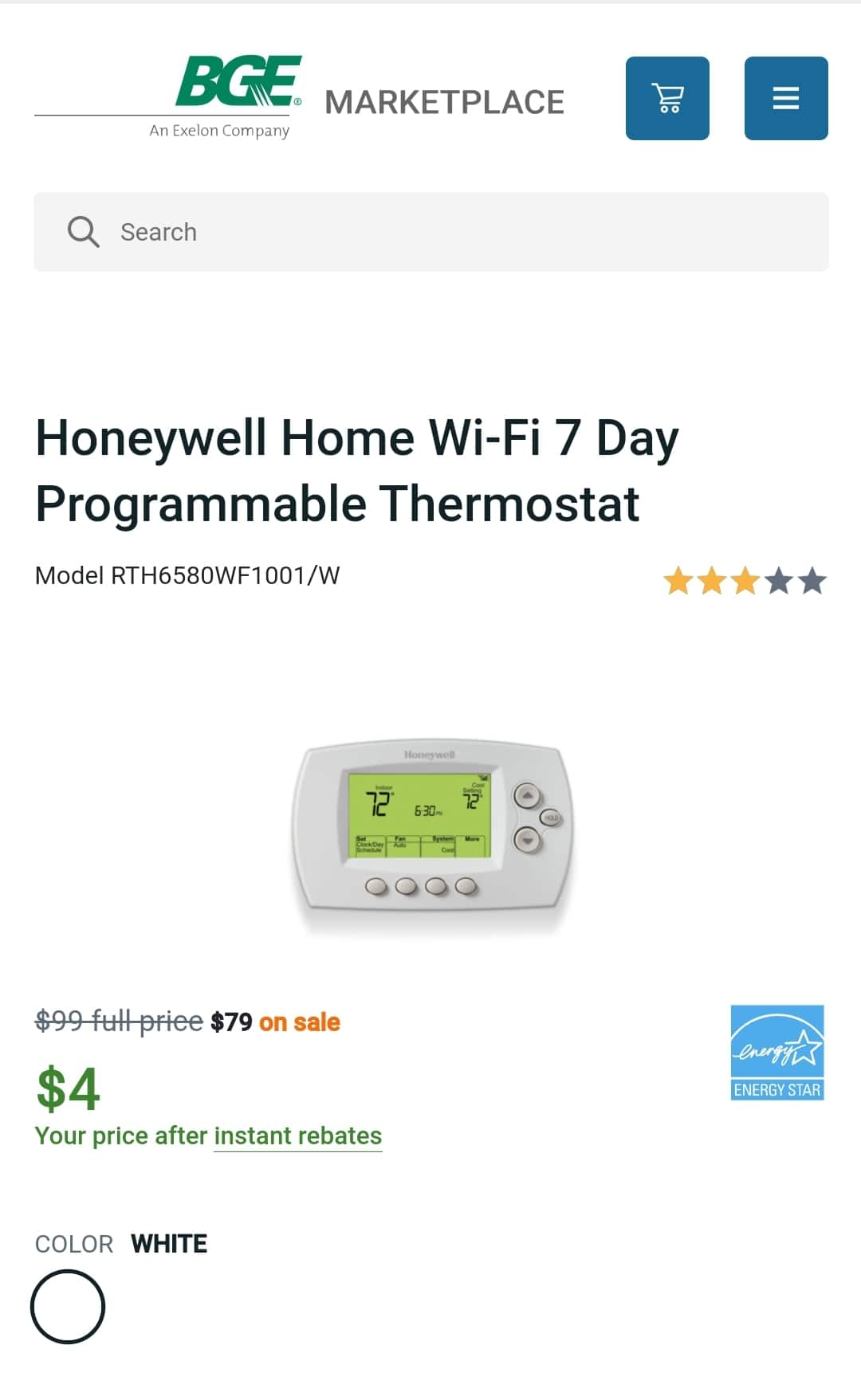 Baltimore/Maryland BGE customers only - Honeywell Home Wi-Fi 7 Day Programmable Thermostat for $4 plus shipping