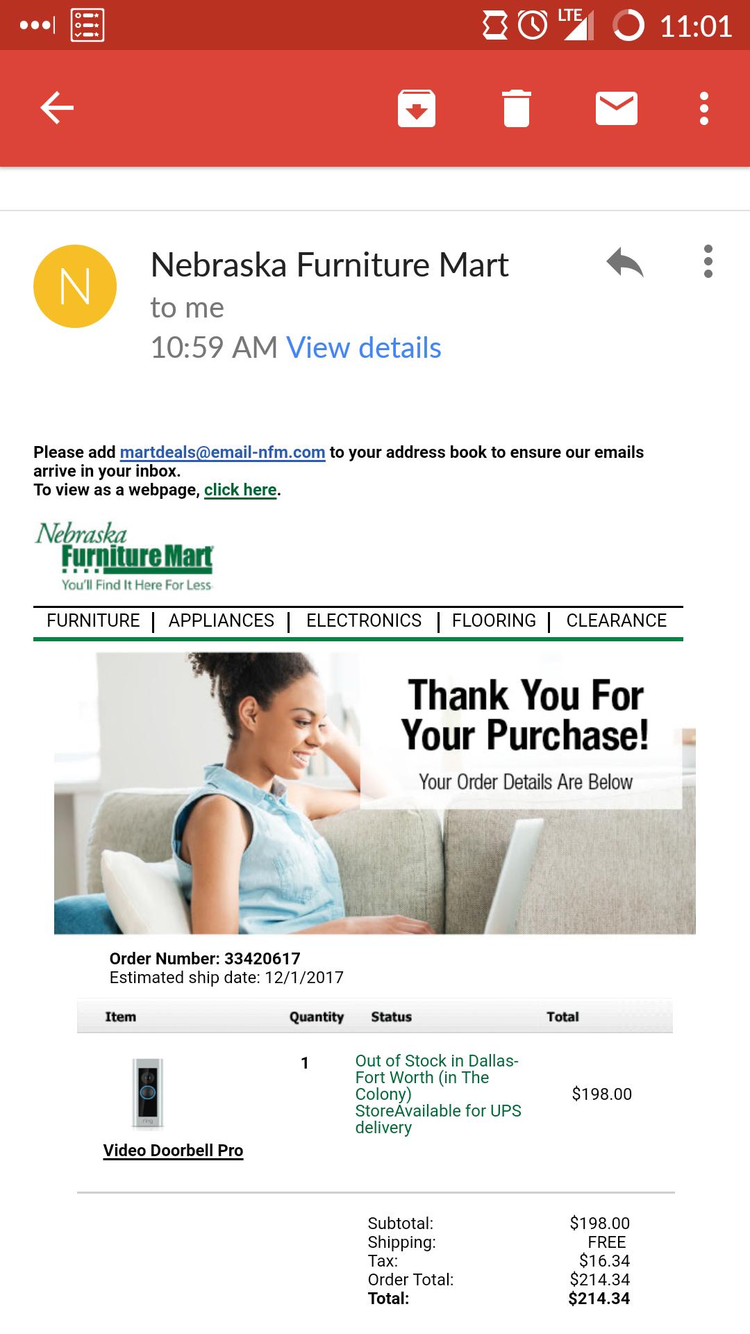 Ring doorbell pro for $198 @ NFM.com mobile site