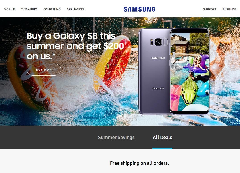 Buy Samsung Galaxy S8/S8+ on Samsung.com or Shop Samsung App and get $200 Visa Reward (Not For Unlocked Version)