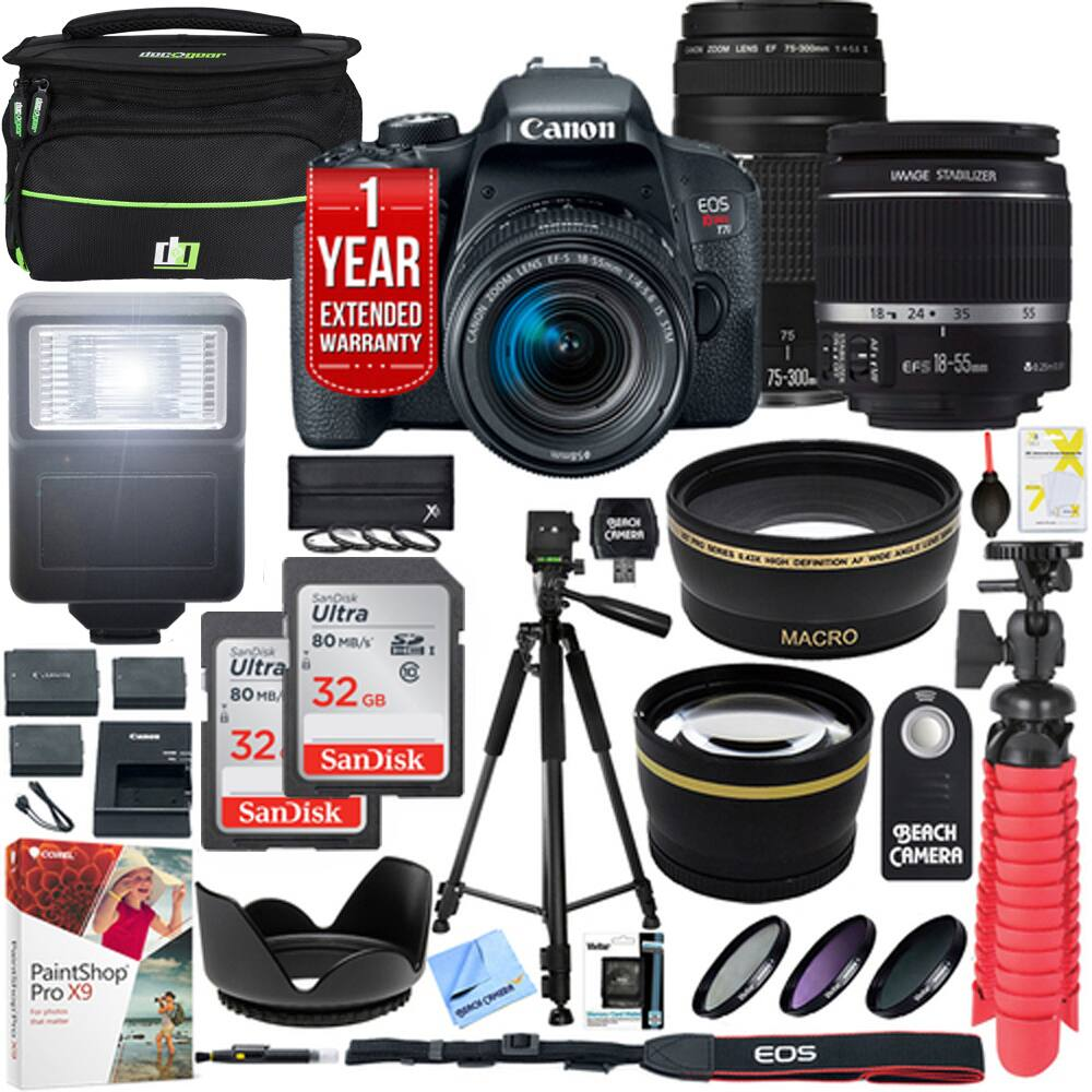 Canon EOS Rebel T7i DSLR Camera w/ EF-S 18-55mm + EF 75-300mm Lens + 64GB Kit $699 > Now $749