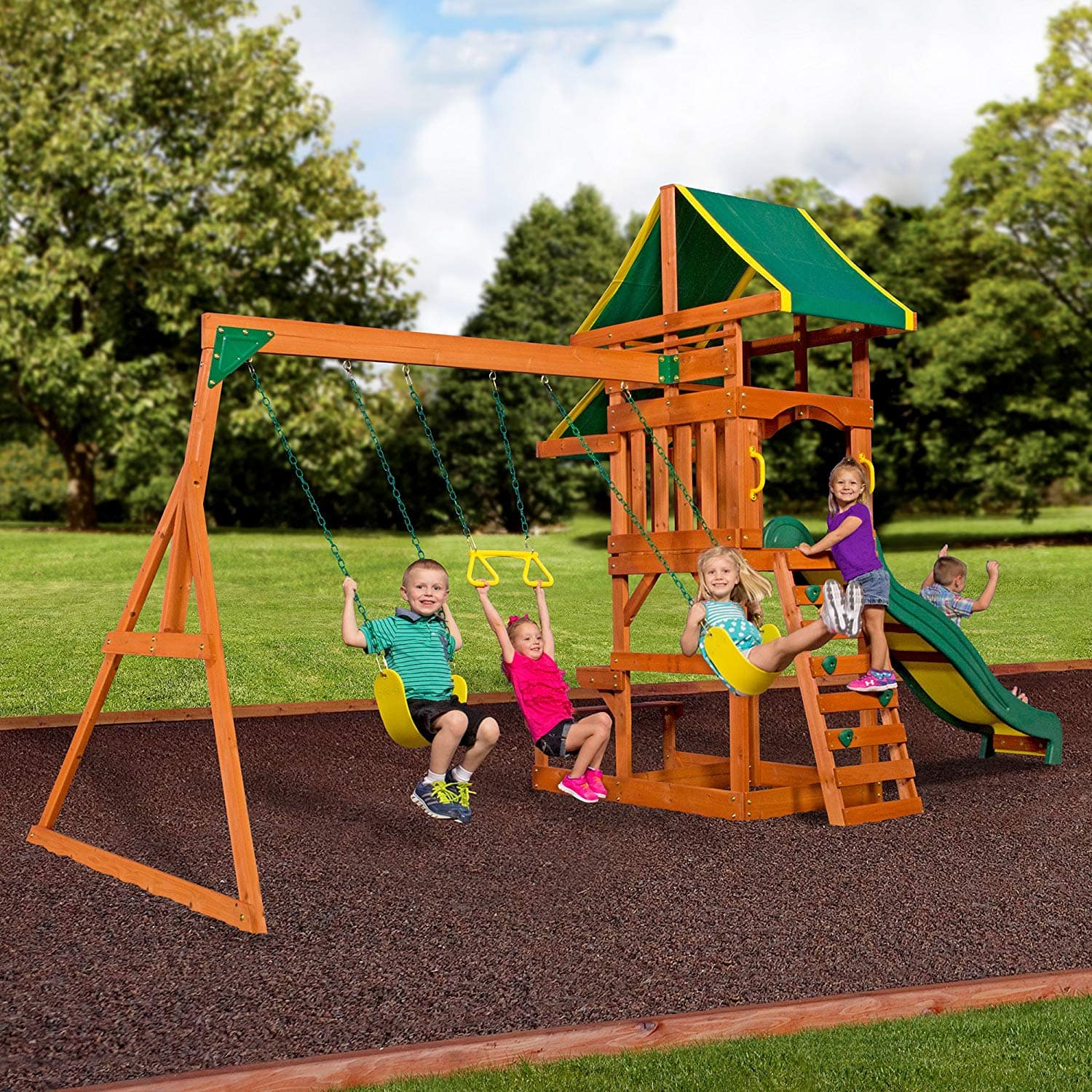913143294138 Backyard Discovery Tucson Cedar Wooden Swing Set   Walmart  249 50% OFF