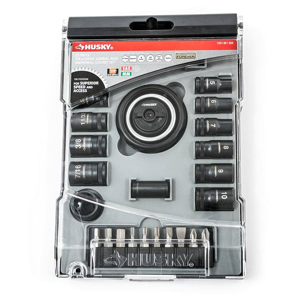 Home Depot B&M YYMV Husky 1/4 in. Drive Gimbal Ratchet and Universal Socket Set (25-Piece) $9.99