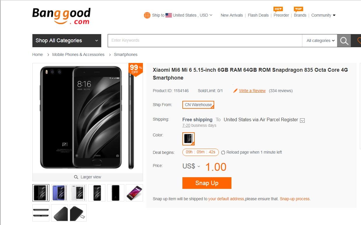 Xiaomi Mi6 Mi 6 5.15-inch 6GB RAM 64GB ROM Snapdragon 835 Octa Core 4G Smartphone $1