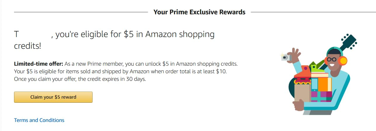 $5 off $10 Purchase for new Amazon Prime Members