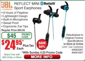 JBL REFLECT MINI Lightest Bluetooth Sport Earphones - Refurbished $24.95 @ Fry's