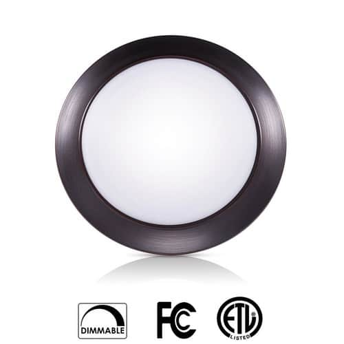 Dimmable LED Disk Light Flush Mount Ceiling Fixture with ETL FCC Listed, 750LM, 12W $9.7