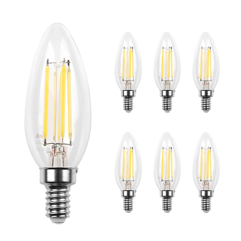 E12 LED Classic Candelabra Clear Light Bulb/4W, Pack of 6 [Daylight White 5000k] $7.99 AC FS Amazon Prime