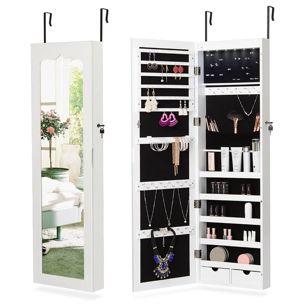 NEX LED Wall-Mounted Jewelry Armoire with Mirror 2 Drawers Lockable Hanging Jewelry Organizer, White $81.63 AC FS Amazon Prime