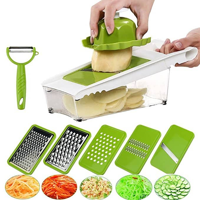 Adjustable Mandoline / Vegetable Slicer Grater Cutter Chopper with 5 Interchangeable Stainless Steel Blades $9.89 AC + FS Amazon Prime Shipping
