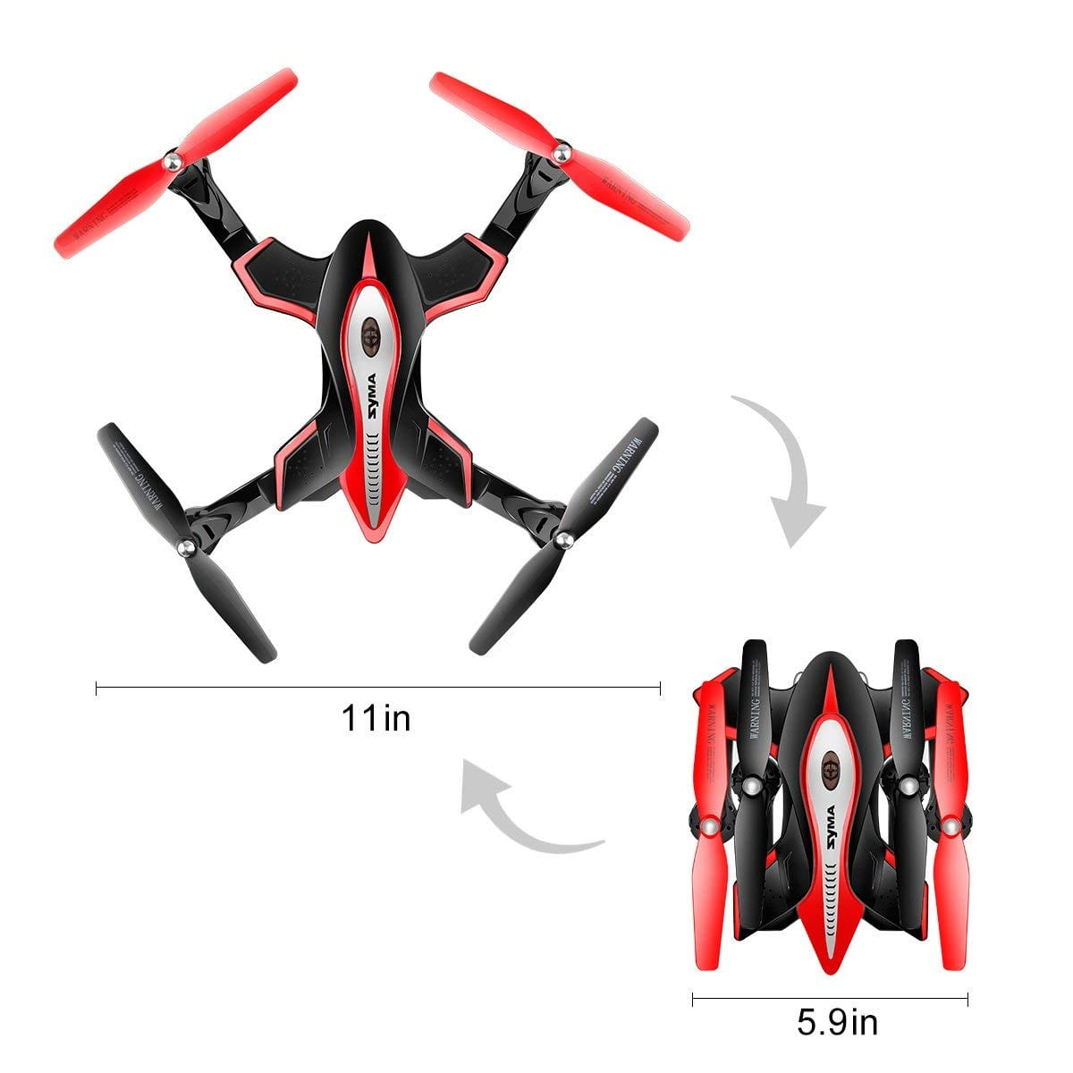 Syma X56W Foldable RC Drone with FPV HD WiFi Camera Live Video - Altitude Hold Headless Mode One Key Return Black $41.93 AC FS Amazon Prime